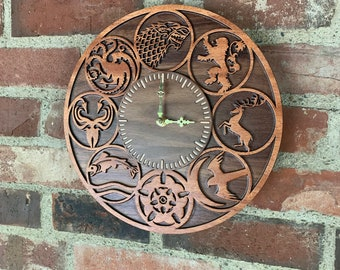READY TO SHIP - Game of Thrones Wall Clock - Hardwood laser-cut, hand-assembled GoT House Sigils clock crafted from mahogany & walnut woods