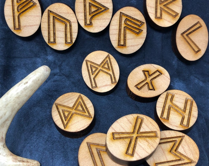 READY TO SHIP - Divination Runes, Casting Runes, Rune Magic, Runes, Futhark, Runelore - crafted of maple, full set w/ natural linen pouch