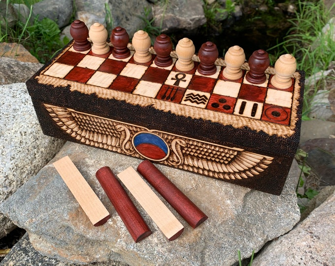 Featured listing image: Royal Game of Ur / Egyptian Senet: Two Ancient Middle Eastern Board Games in one set; Decorative Box & Pieces, Handcrafted and Customizable