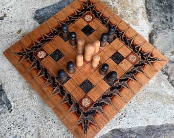 Hnefatafl: 7x7 square grid; historical Irish Brandub & modern Magpie variants, Handcrafted Wood Board Game – Customizable – MADE TO ORDER