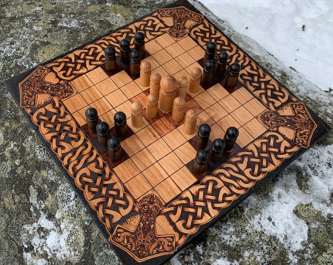 Featured listing image: Hnefatafl: 9x9 square grid; historic Finnish Tablut & modern 'Single Step' variants, Handmade Wood Board Game – Customizable – MADE TO ORDER