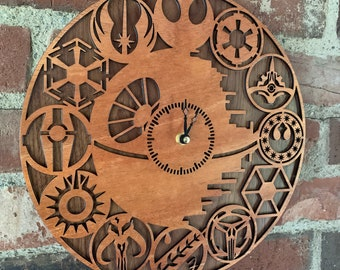 Wall Clock: a functional display of modern pop culture, crafted from premium hardwoods, fine laser cut details, fandom clock - MADE TO ORDER
