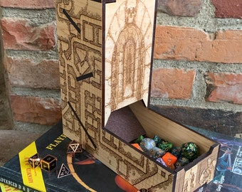 READY TO SHIP - Dice Tower: Role Playing Game aid, Dungeons & Dragons, Tabletop Wargames, laser-engraved and handcrafted from maple