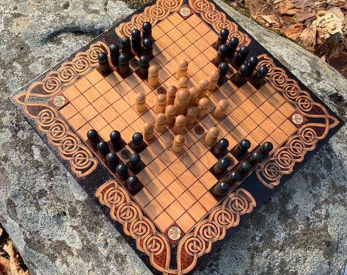 Featured listing image: Hnefatafl: 13x13 square grid; historic Gokstad Tafl & modern 'Sea Battle' variants, Handmade Wood Board Game – Customizable – MADE TO ORDER