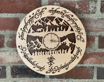 """READY TO SHIP - Lord of the Rings Wall Clock - Laser-Cut Hardwood, hand-assembled LotR """"Journeys"""" clock crafted from maple & walnut woods"""