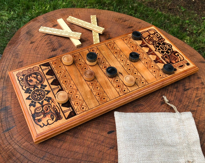 Featured listing image: Puluc: Strategy Game w/ pre-Columbian Mesoamerican Origins, Wooden Board Game, Handcrafted & customizable, wood-burned artwork - Boolik, Bul