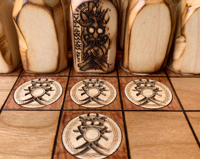 Standing Stone Pawns: Upgrade item for Hnefatafl games - handcrafted wooden playing pieces resembling ancient standing stone - MADE TO ORDER