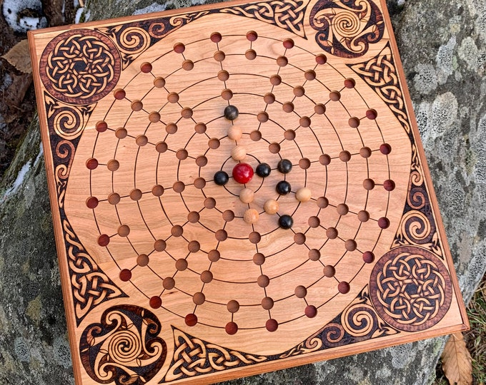 Featured listing image: Fidchell: Ancient Celtic Irish Boardgame of Escape & Capture; Handcrafted Wooden Traditional Game, Customizable, Woodburned Art - Fidhcheall