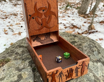 Zombies! - Dice Tower: a Zombie-themed Board & Role Playing Game accessory - Roll to Survive! - handcrafted of hardwoods - MADE TO ORDER