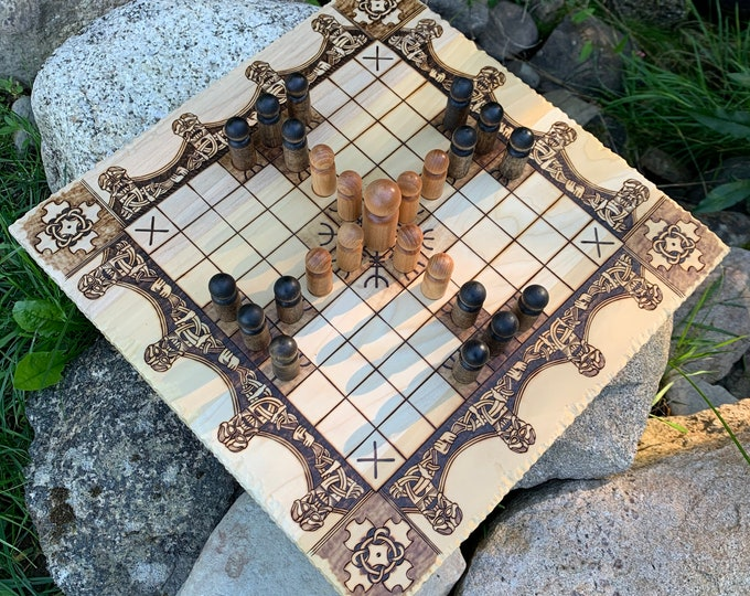 Featured listing image: Hnefatafl: 9x9 square grid; historic Finnish Tablut & modern 'Single Step' game variants, Handcrafted Traditional Board Game – Customizable