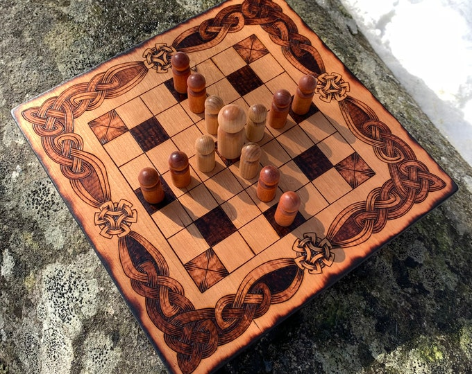 Featured listing image: Hnefatafl: 7x7 square grid; historical Irish Brandub & modern 'Magpie' game variants, Handcrafted Traditional Wood Board Game – Customizable