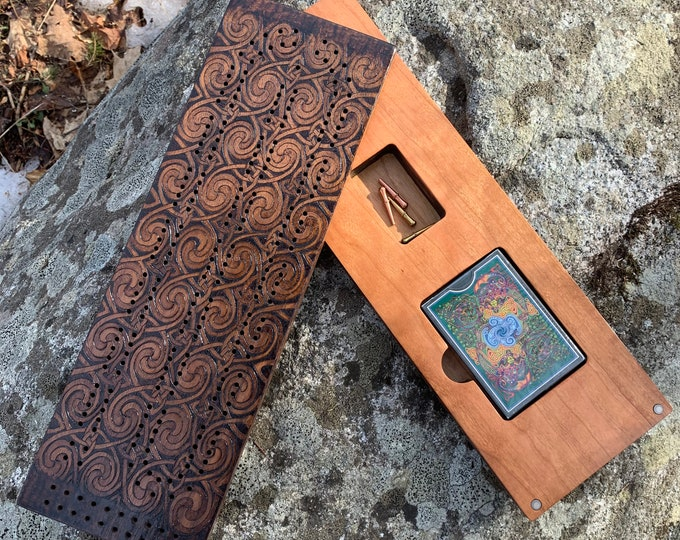Featured listing image: Cribbage Board: Celtic-themed Cribbage Board w/ pivoting top; Card & Pegs Storage, Handcrafted of quality hardwood, Wood-burned Knotwork Art