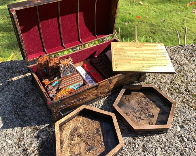 Featured listing image: Orlog Dice Game: Örlög Game physical re-creation, inspired by & featured in Assassin's Creed Valhalla, laser engraved wood w/ customizations