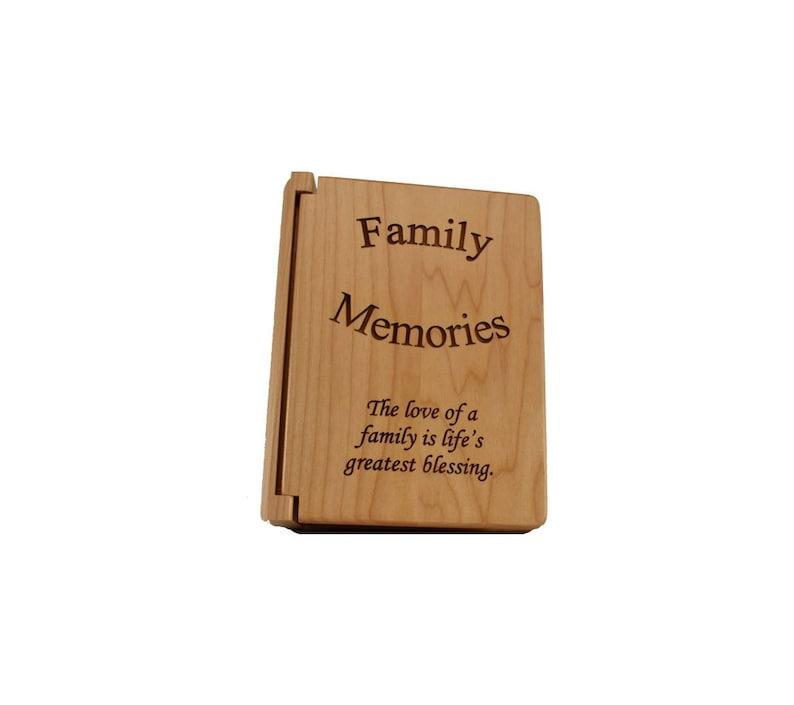 Custom Engraved Rustic Wooden Photo Book Family Memories Small Photo Album