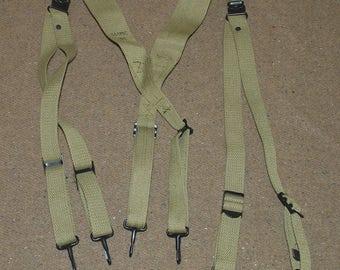 WWII WW2 US M1936 Combat Suspenders Y - Straps in Khaki