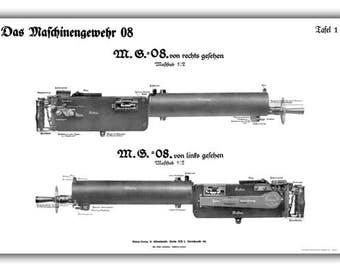 WW1 German MG08/15 & MG08 Maxim Machine Gun Training Charts - 08B