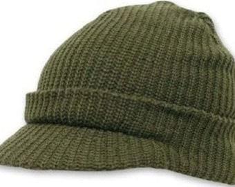 WWII WW2 US 100% Wool Knit Jeep Cap Hat O.D. Green