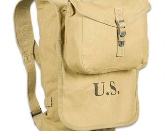 WWII WW2 US M1928 Haversack Backpack Pack with Meat Can Pouch in Khaki