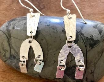 Hand hammered sterling silver drop & dangle earrings.