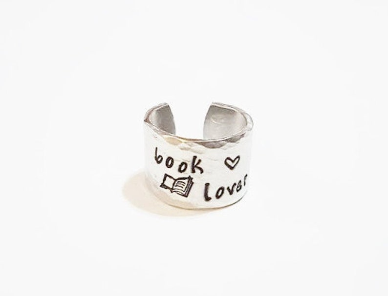 Book Lover Ring  Book Lover Gift  Book Worm Ring  wide band image 0