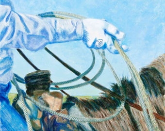New Ropin' Glove Oil Painting, western art, western wall art, roping glove, cowboy, cowboy art, western scene, JennyBriggsFineArt