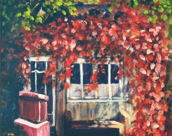 Simpler Times Limited Edition Print, plein air print, charming print, autumn colors, JennyBriggsFineArt, wall decor, gift for her