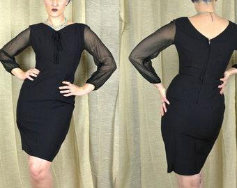 Vintage 1950s Small Black Wiggle Dress Sheer Silk Sleeves Bombshell Pencil Dress