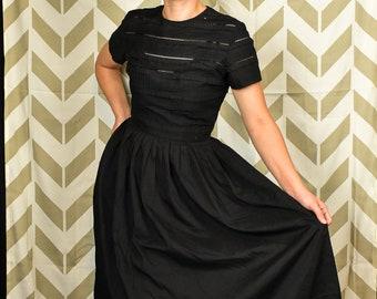 VTG 1950s Black Dress | Vintage L'Aiglon Dress | Vintage Cotton Day Dress | Sheer Black Dress | Eyelet Bodice Dress | Pin Up Rockabill