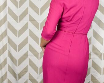 91734f10ec4 50s 60s Wiggle Dress - Samuel Grossman - Fuchsia Pink Dress