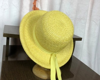 e5875cace71129 40s 50s Yellow Straw Hat - Sun Hat - Canary Yellow Hat