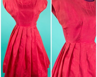 Coral Red Dress Vintage 1950s Red Floral Dress Small