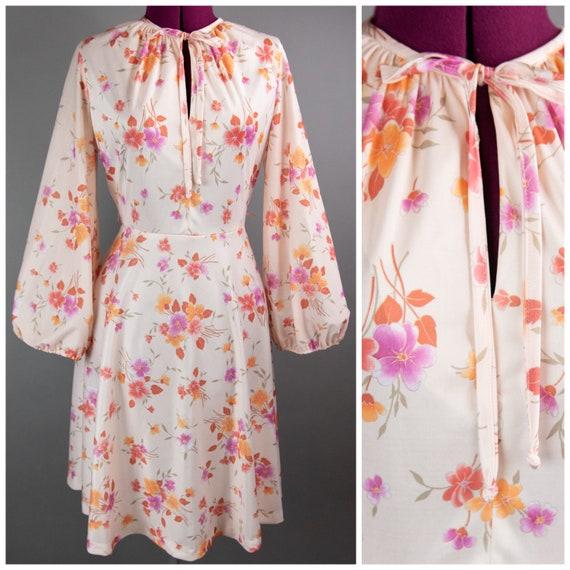 Vintage 1970s Dress - Floral Dress - Medium - Keyh