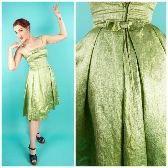 1950s Green Dress XS - Vintage Dress - Novelty Lur