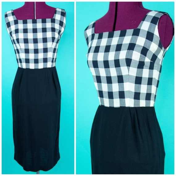 Vintage 1950s Dress - Black Gingham - Small