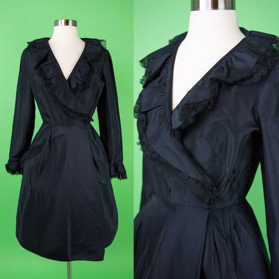 Vintage 1950s Black Wrap Dress XS Small - Taffeta