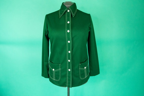Vintage 1970s Forest Green Blouse Top - Large XL -