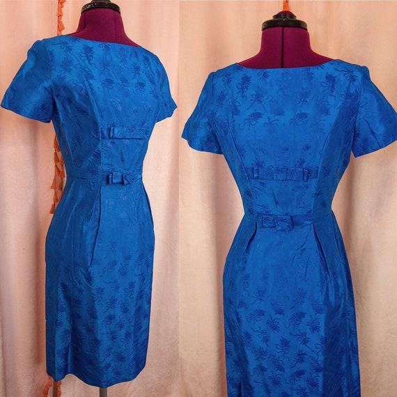 Vintage 1950s Blue Dress XS Floral