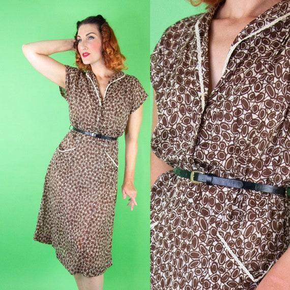 1930s 1940s Brown Dress Large XL 38 Waist - VOLUP