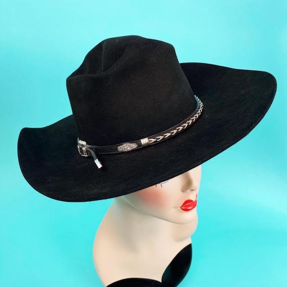 Vintage 1980s Black Cowboy Hat Size 7 - Western H… - image 3