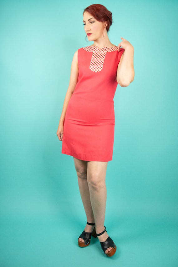1960s Coral Pink Mini Dress Small - 60s Go Go Dre… - image 2