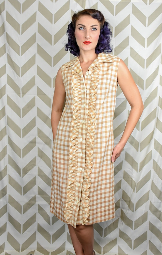 1960s Gingham Dress - Tan Gingham - Mod Dress - Sl