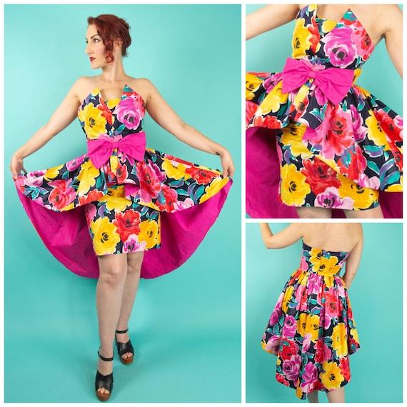 1980s Dress - Peplum Top - Pencil Skirt - Skirt Se