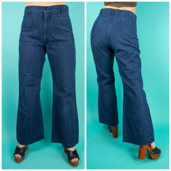 1980s Denim Pants 34 Waist - Denim Work Wear - Vin