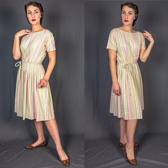 1950s Medium L'Aiglon Striped Dress - Pink Green W