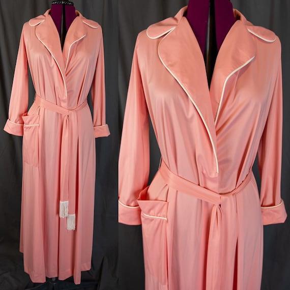 60s 70s Pink Robe - Vintage Vanity Fair Robe - Pea