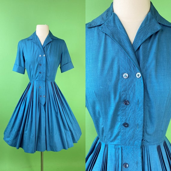 Vintage 1950s Blue Dress XS Shirtwaist Dress