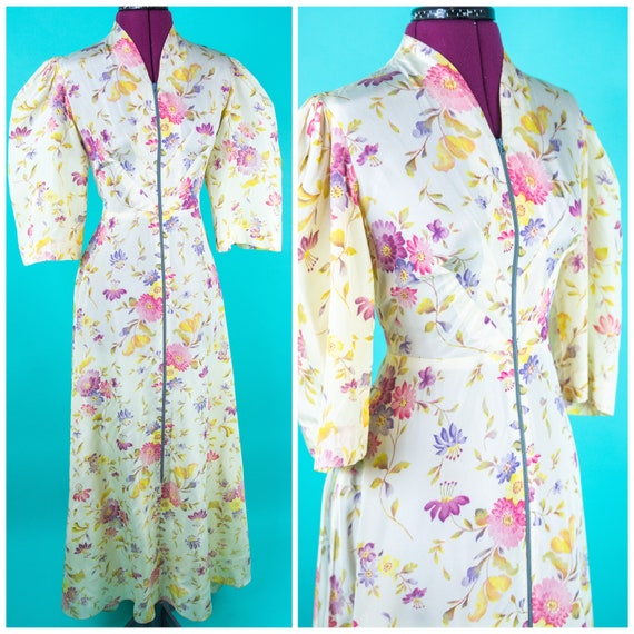 Vintage 1930s 40s Dressing Gown XS - White Floral
