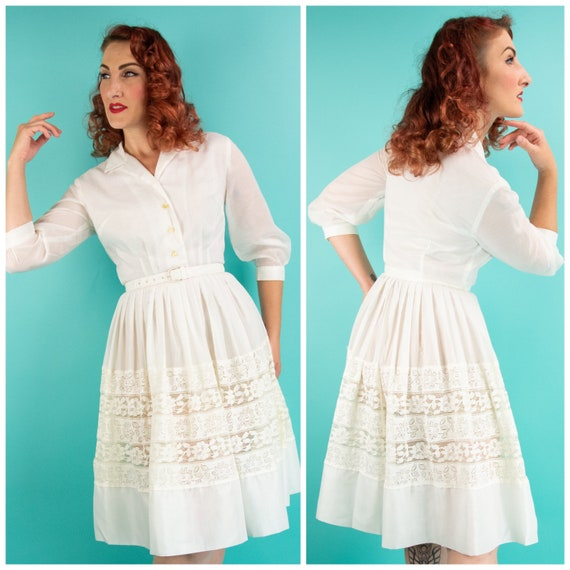 Vintage 1950s White Shirt Dress XS Small Day Dress