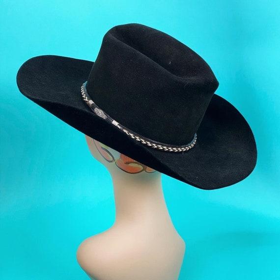 Vintage 1980s Black Cowboy Hat Size 7 - Western H… - image 5