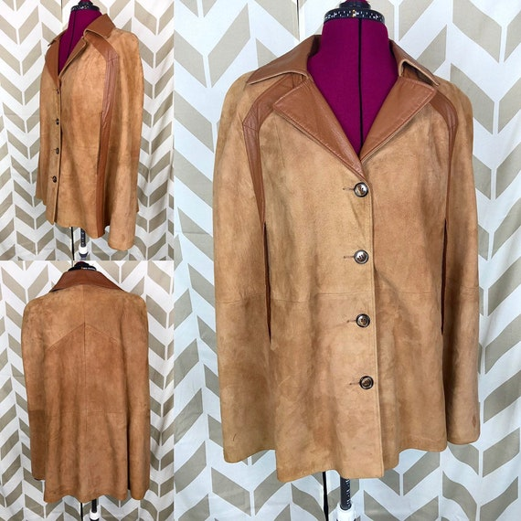 60s S M L Womens Cape - Suede Leather Cape - Brown